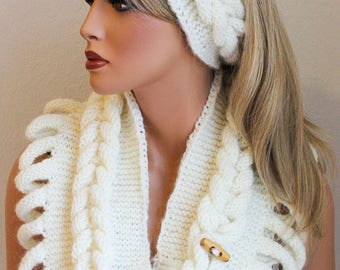 Cashmere Knitted Headband and Infinity Scarf Set65
