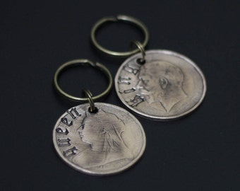 Old English King & Queen - Pair of Polished Victorian Penny Coin Keychains / Love / Friendship / Couples / His + Hers