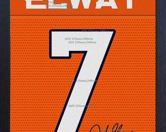 John Elway Denver Broncos shirt NFL signed printed on Canvas 100% cotton Framed