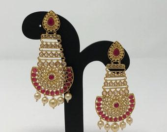Indian Earrings - Indian Jewellery - Indian Bridal Jewelry - Kundan Earrings - Bollywood Earrings - Polki Earrings - Pakistani Earrings