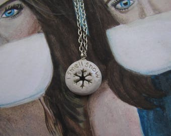 I smell snow polymer clay charm necklace (shimmer effect clay)