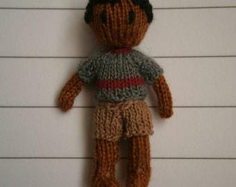 Tiny knitted rag doll 3cm tall