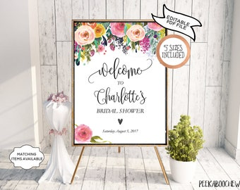 Bridal Shower Welcome Sign Baby Shower Birthday Anniversary Party Wedding Editable Printable Poster Garden Floral Peony DIY Template PCFDWS