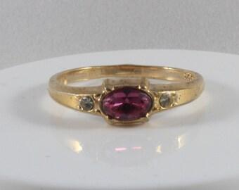 Gold Tone Avon Pink White Cz Ring Size 9