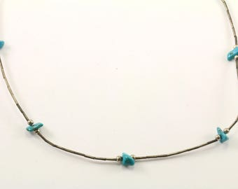 Vintage Navajo Turquoise Necklace 925 Sterling NC 995