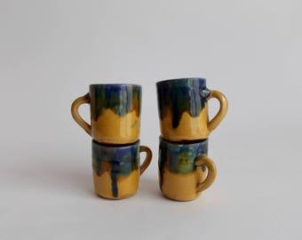 set of 4 cute little handmade espresso cups or shot glasses