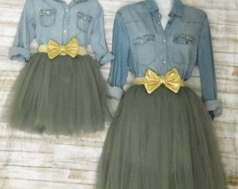 "Mother daughter Matching  Set ""Olive green"" Knee length tulle skirt, mommy and me tulle skirt , tutu skirts, wedding skirts, plus size"