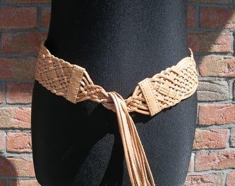 vintage leather belt-women waist belt-hip belt-brown dress belt-womens belt-braided hippie hipster brown leather belt for women-dress belt
