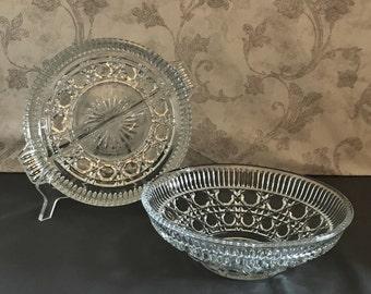 Round Bowl and Relish Dish - Federal Glass Windsor Button & Cane Design - Vintage Pressed Glass - Serving Dish -  Vegetable Serving Bowl