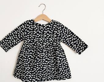 Long Sleeve Toddler Dress, Girls Black and White Dress, Toddler Black Dress, Girls Monochrome Clothes, Toddler Tunic Shirt Dress