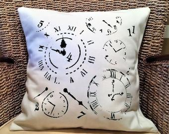 Stenciled throw pillow, decorative throw pillow cover, time travel pillow, painted pillow, canvas pillow, modern pillow, 16 x 16 pillow