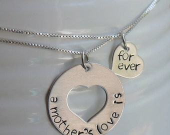 Mother daughter necklace set - two generation necklaces - sterling silver heart cut out necklaces