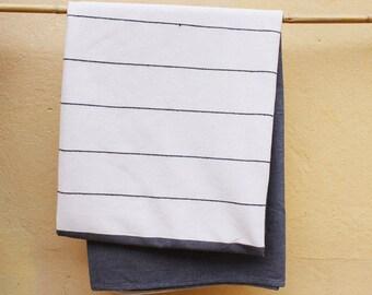Cover minimalist graphic striped plaid woven pure cotton hand loom 204x268cm