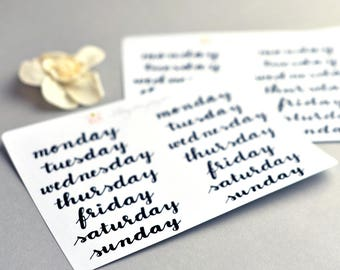 Days of the week hand lettered planner stickers in Black