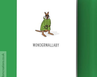 Liam Gallagher Card - Oasis Card - Wonderwallaby - Funny music pun, blank greeting card