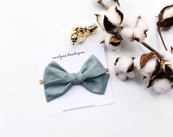 Dusty Blue Extra Large Knot Bow   sailor style, big baby bow, extra large hair bow, nylon headband bows, baby girl hair bows, big hair bows