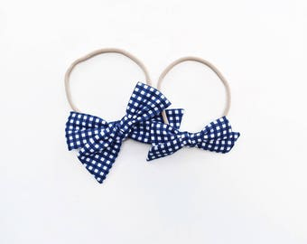 Navy Gingham | baby headband bows, baby hair clips, baby hair accessories, baby headband set, hair bows, newborn headband, blue baby bow