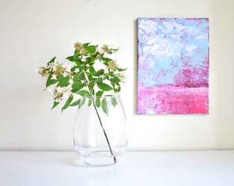 Abstract painting 'Farm' ORIGINAL, acrylic on canvas, free shipping, pink, blue, white, abstract landscape, field, sky