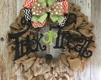 SALE - Burlap wreath - Halloween wreath - Fall wreath - house warming gift - wedding gift - custom gift - neutral burlap wreath - custom