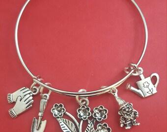 Silver Gardner Themed Charm Bracelet