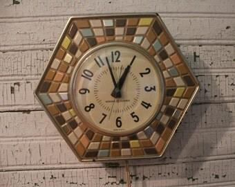 Vintage 1950s   60s Tile Look Retro Kitchen Clock   Aqua, Turquoise, Tan