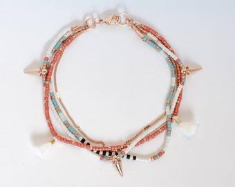 Delicate Turquoise Beaded Wrap Bracelet on Thin Rose Gold Chain with Spike Charm & Tassles Δ Friendship Bracelet Δ Tribal Boho Bracelet