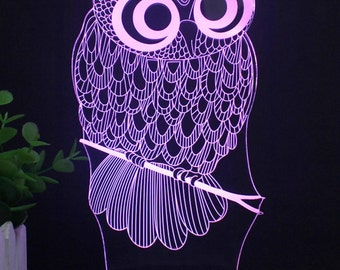 Owl Night Light Bird Desk Light 7 Changing Colors w/Remote Small LED 3D Light Colorful Home Decor Studio USB Charger/Battery Operated Rare