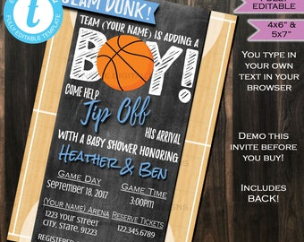 Basketball Baby Shower Invitation Baby Sprinkle Baby Boy Invite Slam Dunk Chalkboard Template Custom Printable INSTANT Self EDITABLE 5x7 4x6