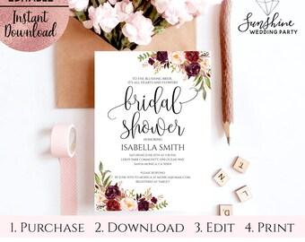 Floral Bridal Shower Invitation Template, Printable 5x7 Script Font Bridal Shower Invitation Template, Editable PDF file, Digital Download