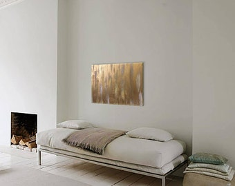 Abstract painting, original paint on canvas, gold paint