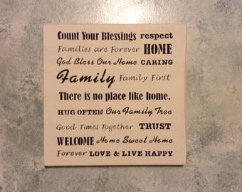 Count Your Blessings, Families Are Forever, Home Sweet Home Hanging Sign Rustic Wall Decor