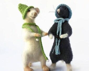 Mice couple Needle felt toys Felted wool mouse Felted mice Needle felt animal Mouse soft toy Stuffed mouse Needle felted mice Felting animal