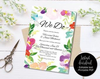 Wedding Invitation Template, Printable Wedding Invite, Wedding Reception Invite, Floral Watercolor Editable PDF Invite, Border 1 INV-1