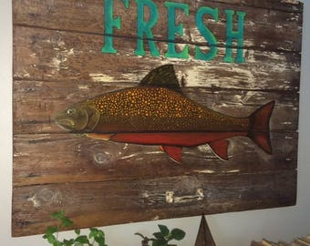 Fresh Fish Sign-Vintage Door Architechual Salvage- HandPainted-Market Sign-Rustic-Harbor-Seashore-Beach-Lake-Fishing-Warf Fish Sign