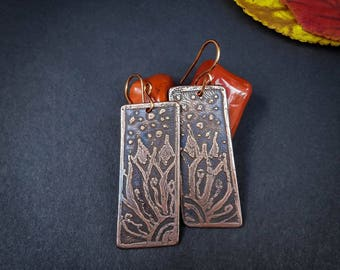 Handmade copper earrings, etched copper earrings, long earrings, floral earrings, dangle earrings