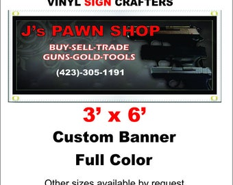 3'x6' Custom Banner Full Color===Other sizes available by request===