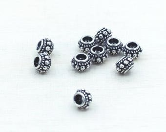 Bali silver beads, Classic designed Bali Style Silver Beads for designing jewelry, 6 mm Decorative Silver Beads, Sterling Silver Beads 00024