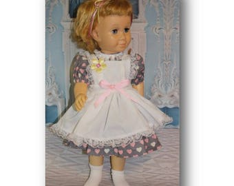 """Chatty Cathy doll not included. Clothes fit 20"""" tall dolls.  Valentine Sweetheart dress & pinafore. Young girl gift. Doll Collector Gift"""