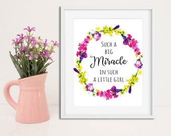 Such a miracle in such a little girl Printable Nursery quote nursery wall art nursery printable children art nursery wall art baby shower