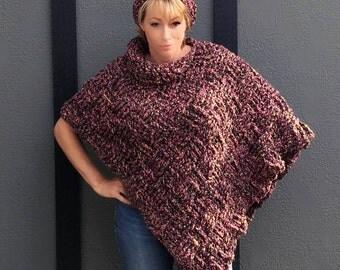 Crochet poncho & slouchy hat