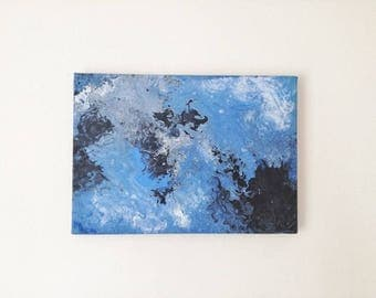Black Smoke | Fluid Acrylic Pour Painting on Canvas | Original Painting