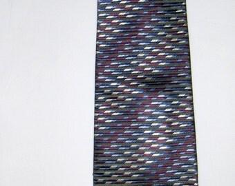 Vintage CHRISTENSEN pure silk tie made in Italy/ Handmade silk necktie / Men's accessories/ Blue, purple, black and white tie