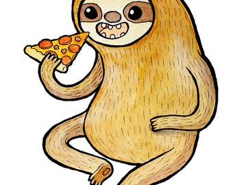 Sloth Eating Pizza Watercolor Print