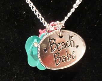 Beach Babe Necklace with Pink Sunglasses and Turquoise Flip Flops