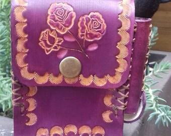 full grain leather cigarette case-dyed violet flower pattern