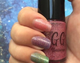Electromagnetism - Pink Jelly Nail Polish with Scattered Holographic Glitter