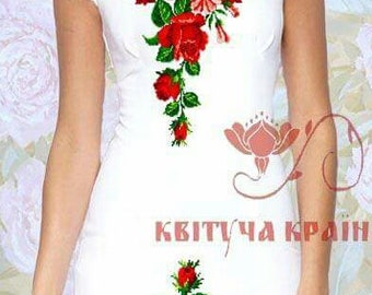 Ukrainian embroidery Dress embroidered roses Vyshyvanka dress White embroidered dress Designer embroidery Beaded dress Handmade embroidery