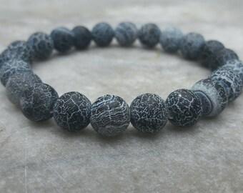 Matt Frosted Black Fire Crackle Agate Gemstones bracelet