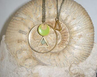 Apple green geometric necklace