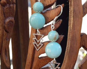 Amazonite and Silver earrings